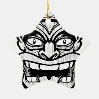 tiki mask hawaiian art ceramic star ornament