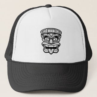 tiki mask hawaiian art trucker hat