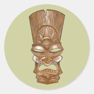 Tiki mask MASK Classic Round Sticker