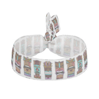 Tiki Mask Pattern Ribbon Hair Tie