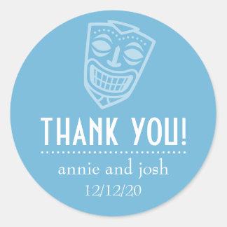 Tiki Mask Thank You Labels (Sky Blue)