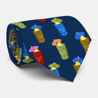 Tiki Mugs Tropical Drinks Two-Sided Printed Tie