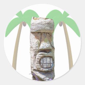 Tiki & Palm Trees Classic Round Sticker
