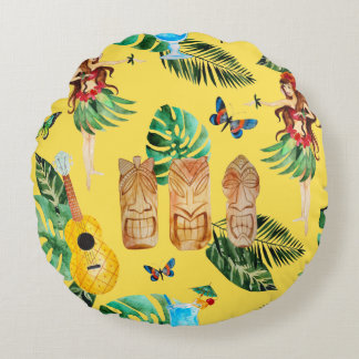 Tiki Party Home Decor Round Pillow