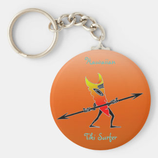 Tiki Surfer Red And Yellow Basic Round Button Keychain