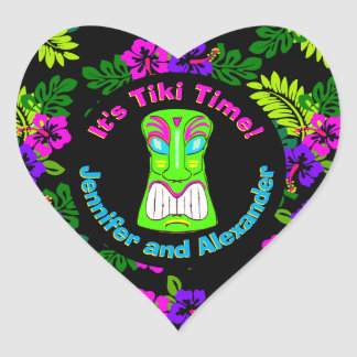 Tiki Time Heart Shaped Sticker