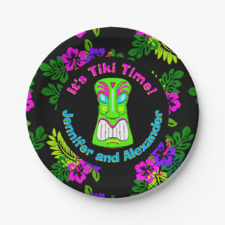 """Tiki Time"" Island Theme Couple's Shower Paper Plate"