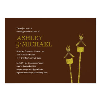 Tiki Torch Beach Wedding Shower Invitations