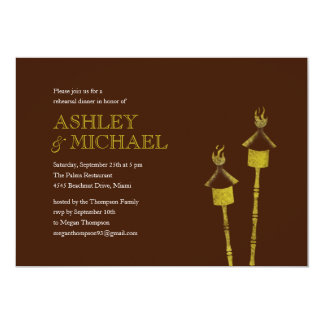 Tiki Torch Rehearsal Dinner Beach Invitations