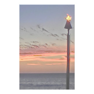 Tiki torch sunset stationary paper