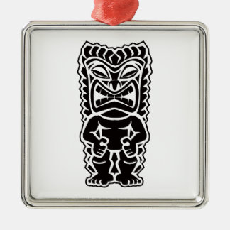 tiki totem Silver-Colored square ornament
