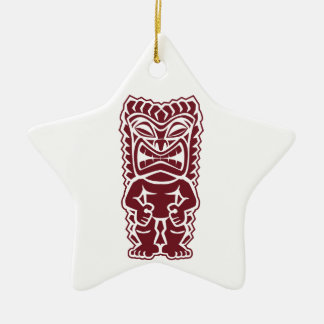 tiki totem warrior burgundy ceramic star ornament
