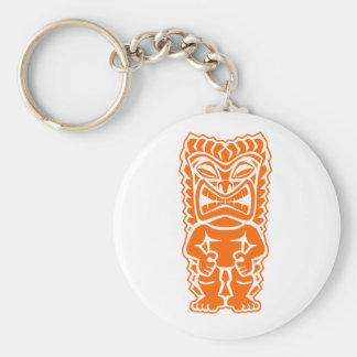 tiki totem warrior orange keychain