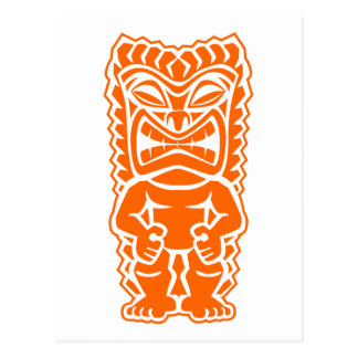 tiki totem warrior orange postcard