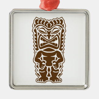 Tiki Totem Warrior Silver-Colored Square Ornament