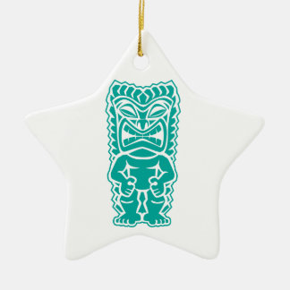 tiki totem warrior teal ceramic star ornament