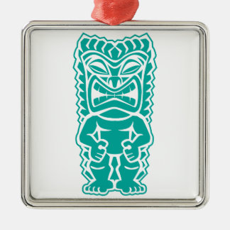 tiki totem warrior teal Silver-Colored square ornament