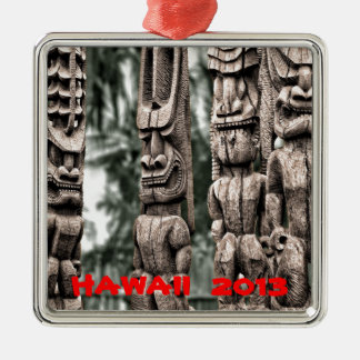 Tiki Tribal Council Silver-Colored Square Ornament