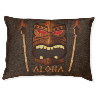 Tiki Vintage Wooden Wood Mask Aloha Pet Bed