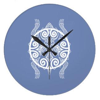 Tiki Warrior Turtle Tattoo Large Clock