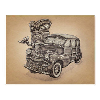 Tiki Woodie Postcard