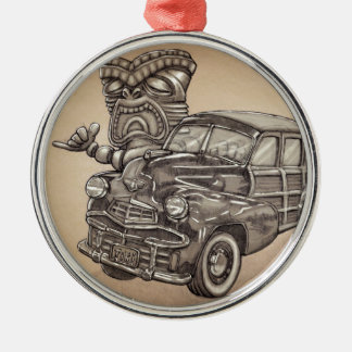 Tiki Woodie Silver-Colored Round Ornament