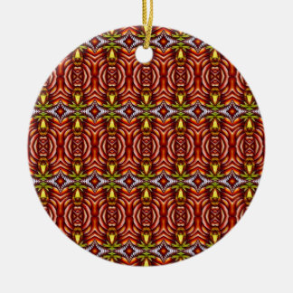 Tiki Zebra Stripe Brown Pattern Round Ceramic Ornament