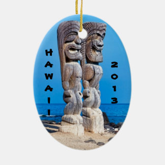 Tikis in Paradise Ceramic Oval Ornament