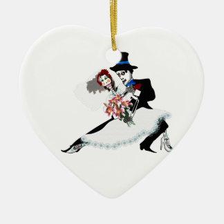 'Til Death Do Us Part - Day of the Dead wedding Ceramic Heart Ornament