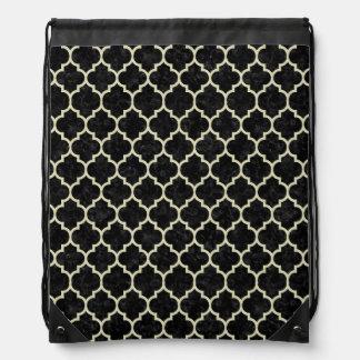 TILE1 BLACK MARBLE & BEIGE LINEN DRAWSTRING BAG