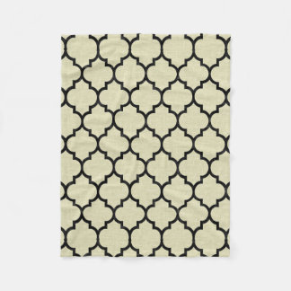 TILE1 BLACK MARBLE & BEIGE LINEN (R) FLEECE BLANKET
