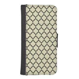 TILE1 BLACK MARBLE & BEIGE LINEN (R) iPhone SE/5/5s WALLET CASE