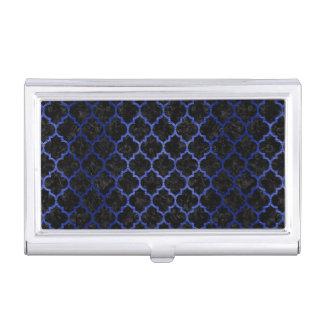 TILE1 BLACK MARBLE & BLUE BRUSHED METAL BUSINESS CARD HOLDER