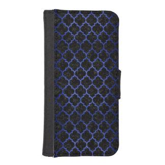 TILE1 BLACK MARBLE & BLUE BRUSHED METAL iPhone SE/5/5s WALLET CASE