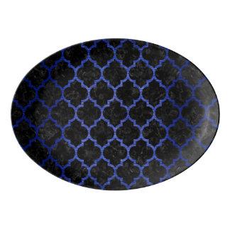 TILE1 BLACK MARBLE & BLUE BRUSHED METAL PORCELAIN SERVING PLATTER