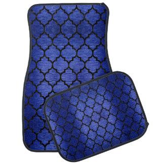 TILE1 BLACK MARBLE & BLUE BRUSHED METAL (R) CAR MAT