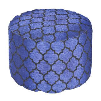 TILE1 BLACK MARBLE & BLUE BRUSHED METAL (R) POUF