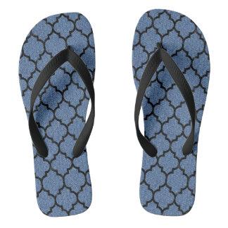 TILE1 BLACK MARBLE & BLUE DENIM (R) FLIP FLOPS