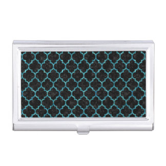 TILE1 BLACK MARBLE & BLUE-GREEN WATER BUSINESS CARD HOLDER