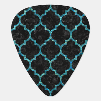 TILE1 BLACK MARBLE & BLUE-GREEN WATER GUITAR PICK
