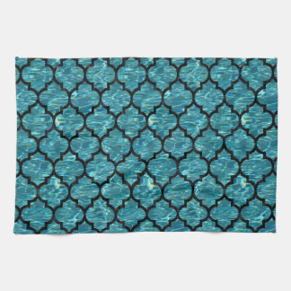 TILE1 BLACK MARBLE & BLUE-GREEN WATER (R) KITCHEN TOWEL