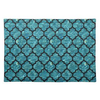 TILE1 BLACK MARBLE & BLUE-GREEN WATER (R) PLACEMAT