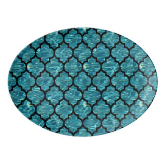 TILE1 BLACK MARBLE & BLUE-GREEN WATER (R) PORCELAIN SERVING PLATTER