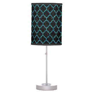 TILE1 BLACK MARBLE & BLUE-GREEN WATER TABLE LAMP