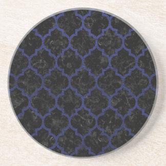 TILE1 BLACK MARBLE & BLUE LEATHER COASTER