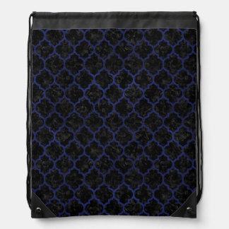 TILE1 BLACK MARBLE & BLUE LEATHER DRAWSTRING BAG