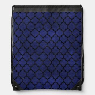 TILE1 BLACK MARBLE & BLUE LEATHER (R) DRAWSTRING BAG