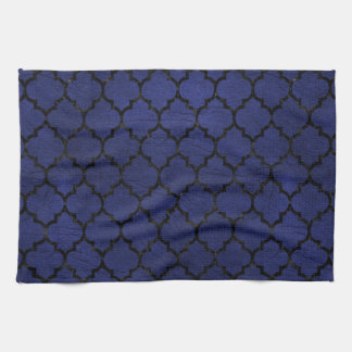 TILE1 BLACK MARBLE & BLUE LEATHER (R) HAND TOWEL