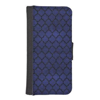 TILE1 BLACK MARBLE & BLUE LEATHER (R) iPhone SE/5/5s WALLET CASE