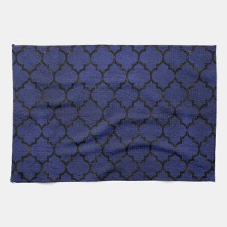 TILE1 BLACK MARBLE & BLUE LEATHER (R) KITCHEN TOWEL